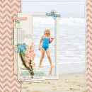 Summer Beach Swimming scrapbook page created by pne123 featuring Sahlin Studio goodies