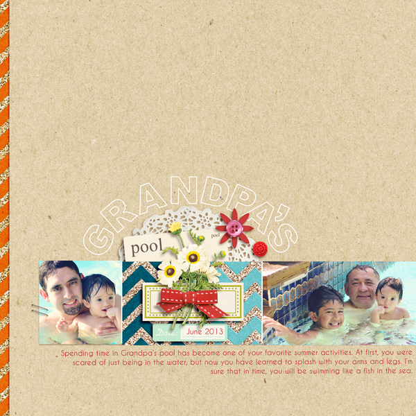 Summer Swimming scrapbook page created by raquels featuring Sahlin Studio goodies