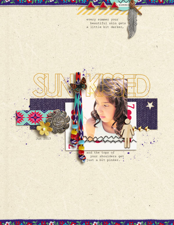 "Digital Scrapbook page created by askings featuring ""Aztec Summer"" by Sahlin Studio"