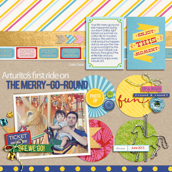 "Carnival Digital Scrapbook page created by raquels featuring ""Project Mouse (Fantasy)"" by Sahlin Studio"