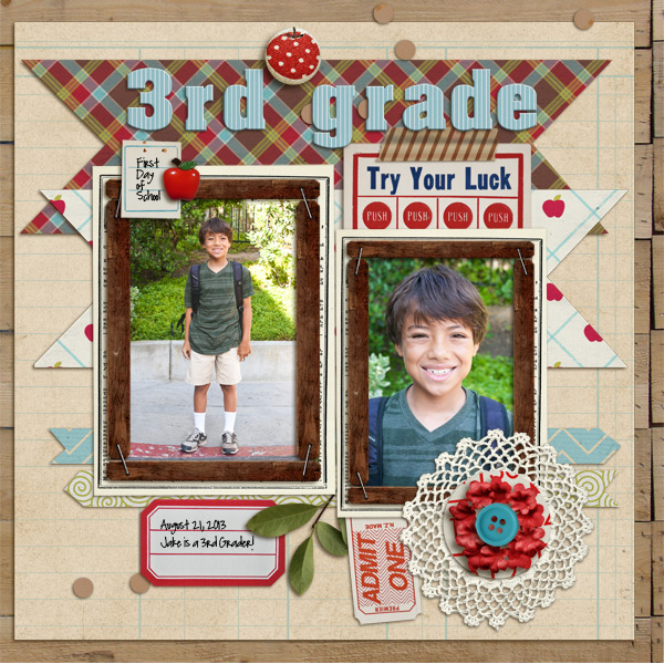 Digital Scrapbook Layout by MikiNenn featuring Apple Orchard by Sahlin Studio