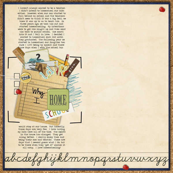 Photoless Homeschooling Digital Scrapbook Layout featuring Explore.Learn.Grow. Kit and Snipettes: Explore.Learn.Grow. by Sahlin Studio