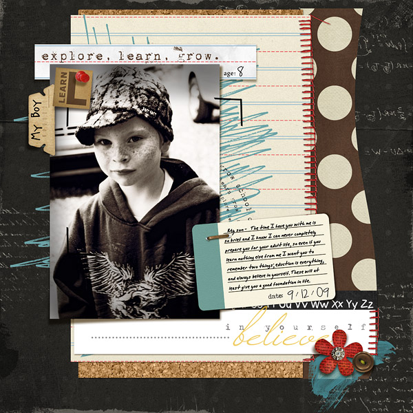 Letter to My Son Digital Scrapbook Layout Explore.Learn.Grow. Kit by Sahlin Studio