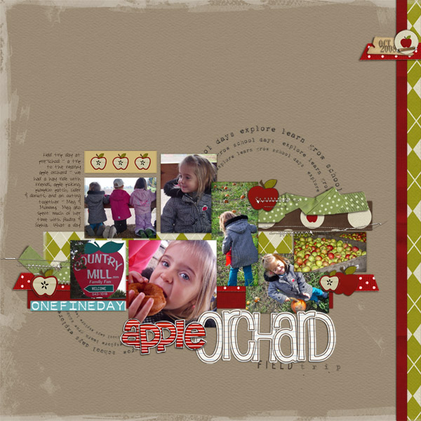 Apple Orchard (fall) Digital Scrapbook Layout by RebeccaH featuring Explore.Learn.Grow. Kit and Snipettes: Explore.Learn.Grow. by Sahlin Studio