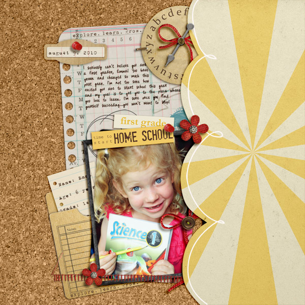 First Grade & Homeschool Digital Scrapbook Layout by becca using Explore.Learn.Grow. Kit Learning: Journaling Bits, and Snipettes: Explore.Learn.Grow. by Sahlin Studio