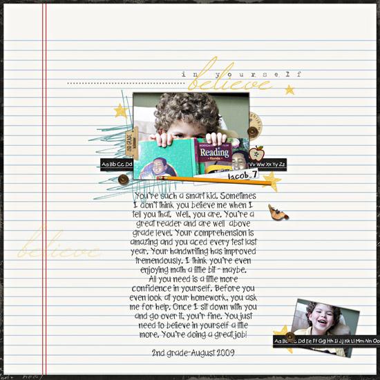 Believe in Yourself (in 2nd grade) digital scrapbook layout by bluefiji97 featuring Explore.Learn.Grow. Kit by Sahlin Studio