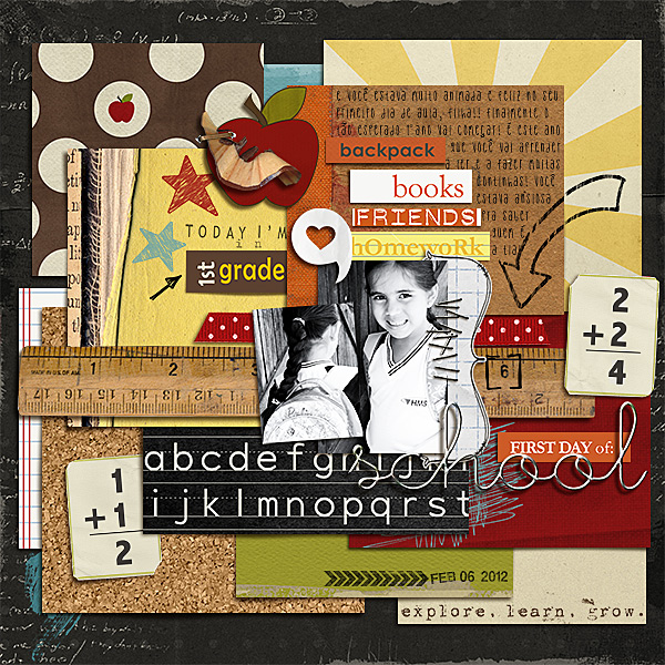 First Grade Digital Scrapbook Layout by dana using Explore.Learn.Grow. Kit Learning: Journaling Bits, and Snipettes: Explore.Learn.Grow. by Sahlin Studio