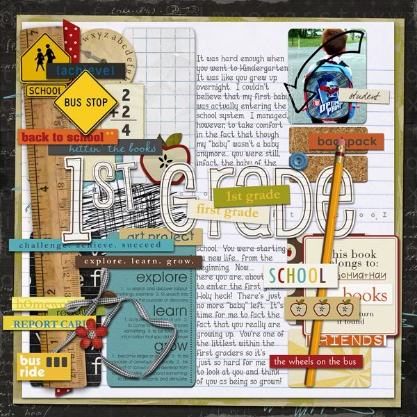 First Day of 1st Grade Digital Scrapbook Layout by jen featuring Explore.Learn.Grow. Kit, Snipettes: Explore.Learn.Grow. and Learning: Journaling Bits by Sahlin Studio