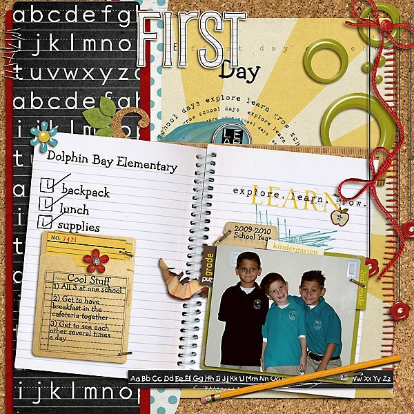 First Day of School Digital Scrapbook layout by jenny featuring Explore.Learn.Grow. Kit, Snipettes: Explore.Learn.Grow. and Learning: Journaling Bits by Sahlin Studio