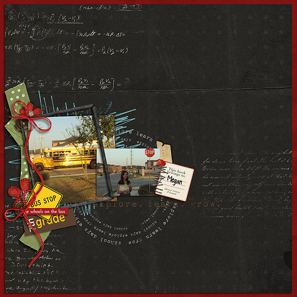 Waiting for the bus Digital Scrapbook Layout by megan using Explore.Learn.Grow. Kit Learning: Journaling Bits, and Snipettes: Explore.Learn.Grow. by Sahlin Studio