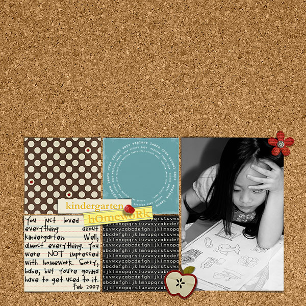 Homework and Kindergarten Digital Scrapbook Layout by melissa featuring Explore.Learn.Grow. Kit and Snipettes: Explore.Learn.Grow. by Sahlin Studio
