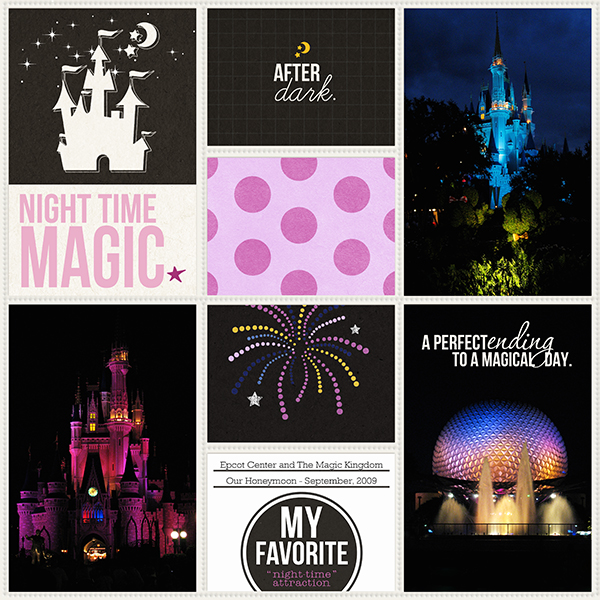 Disney After Dark Project Life page layout by TeresaVictor using Project Mouse: At Night by Sahlin Studio & Britt-ish Designs