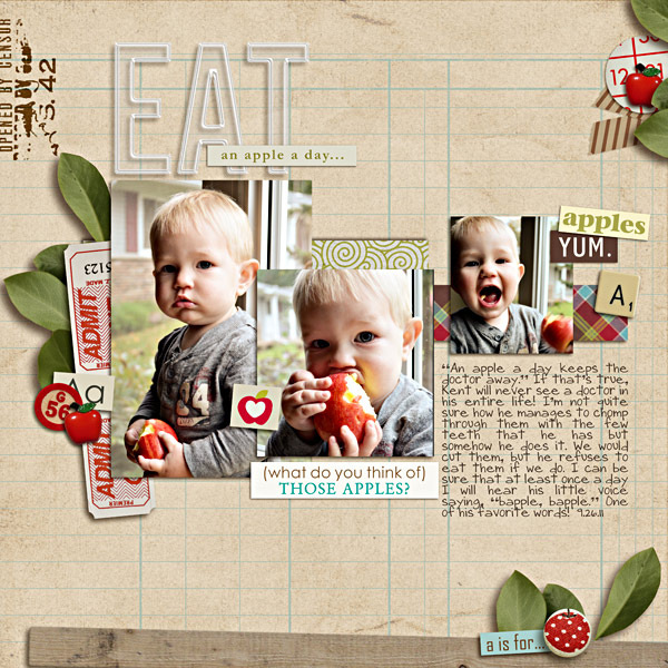 Digital Scrapbook Layout by plumdumpling featuring Apple Orchard by Sahlin Studio