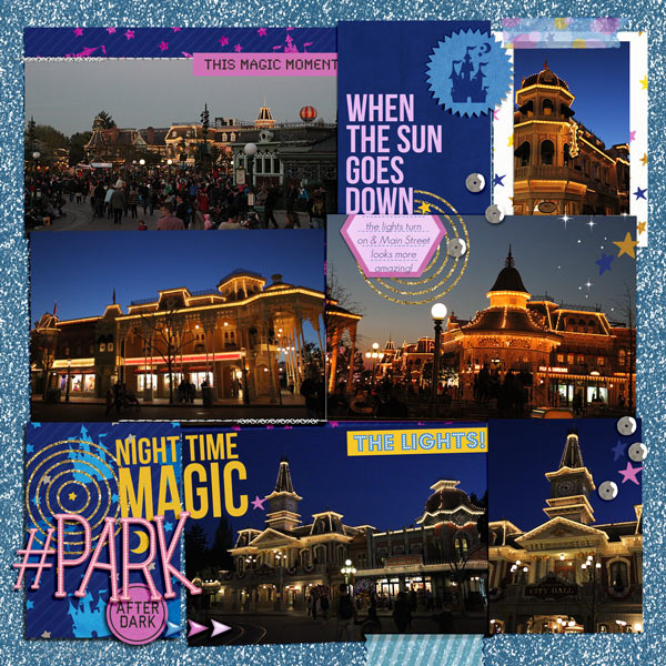Disney After Dark digital scrapbook layout by -justine using Project Mouse: At Night by Sahlin Studio & Britt-ish Designs