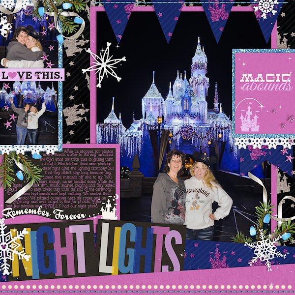 night lights at disney layout by wendy using Project Mouse: At Night by Sahlin Studio & Britt-ish Designs