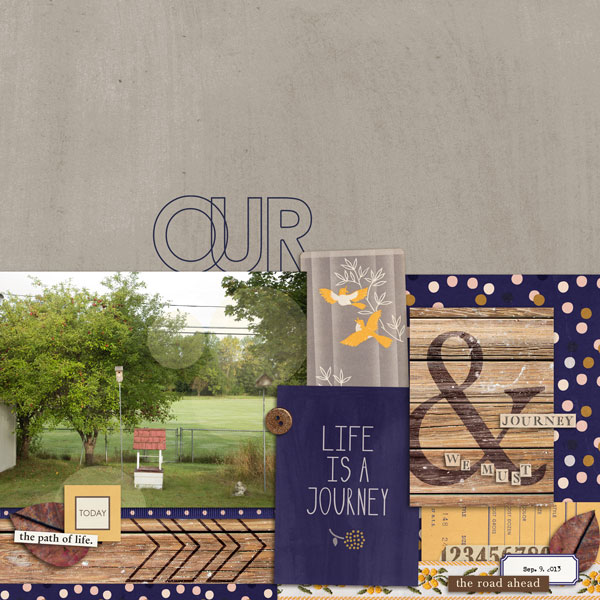 Our Life Is A Journey layout by Cristina using Country Road Kit, Country Road Journal Cards, Country Road Word Art by Sahlin Studio