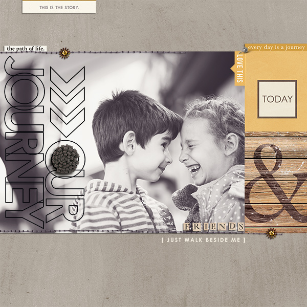 Friends and Our Journey layout by Damayanti using Country Road Kit, Country Road Journal Cards, Country Road Word Art by Sahlin Studio