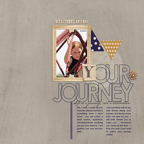 Your Journey layout by stampin_rachel Country Road Kit, Country Road Journal Cards, Country Road Word Art by Sahlin Studio