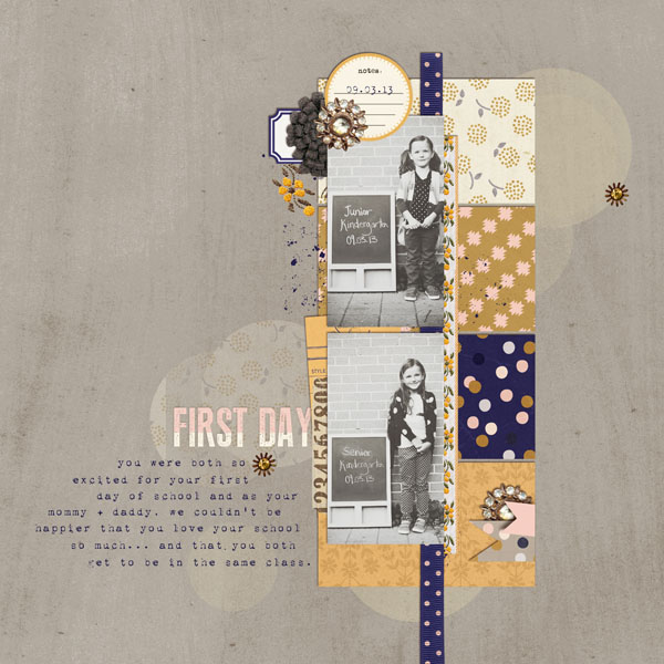First Day of School layout by theardentsparrow using Country Road Kit, Country Road Journal Cards, Country Road Word Art by Sahlin Studio