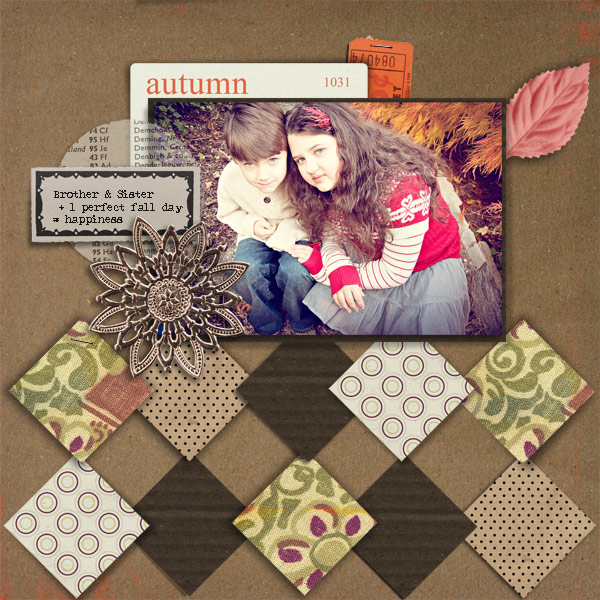 Fall / Autumn digital scrapbook layout created by marie featuring Autumn Moon by Sahlin Studio