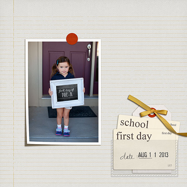 First Day of School layout by FarrahJobling using Journal Cards: School by Sahlin Studio