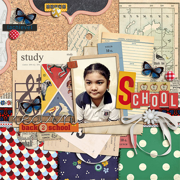 Learning and Back to School layout by scrappydonna using Journal Cards: School, School Time (papers), A Wonderful Day (mixed media) kit by Sahlin Studio