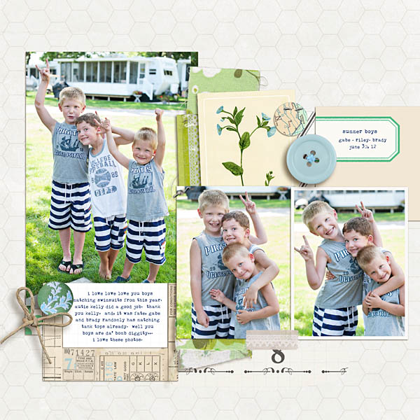 Summer Boys Nature digital scrapbook layout by Krista Sahlin using Down the Lane by Sahlin Studio