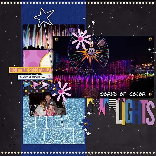 Disney After Dark digital scrapbook layout by mamatothree using Project Mouse: At Night by Sahlin Studio & Britt-ish Designs