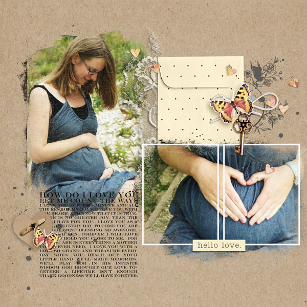 Maternity / motherhood digital scrapbook layout created by MlleTerraMoka featuring the October 2013 FREE template by Sahlin Studio