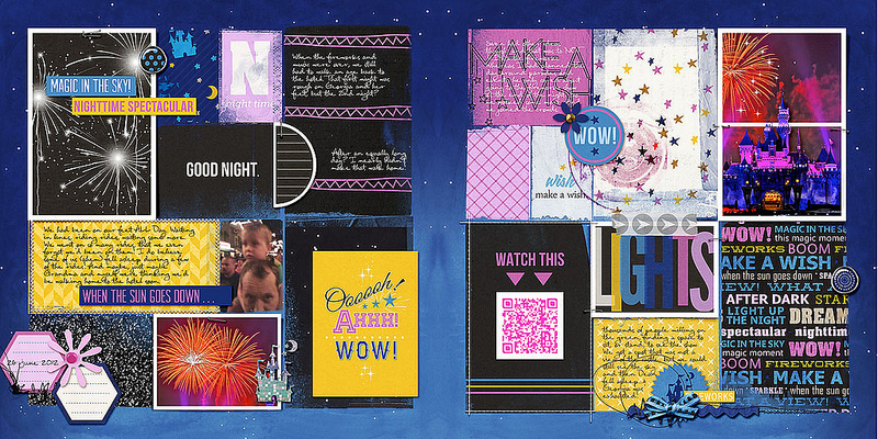 disney at night project life double page layout by amberr using Project Mouse: At Night by Sahlin Studio & Britt-ish Designs
