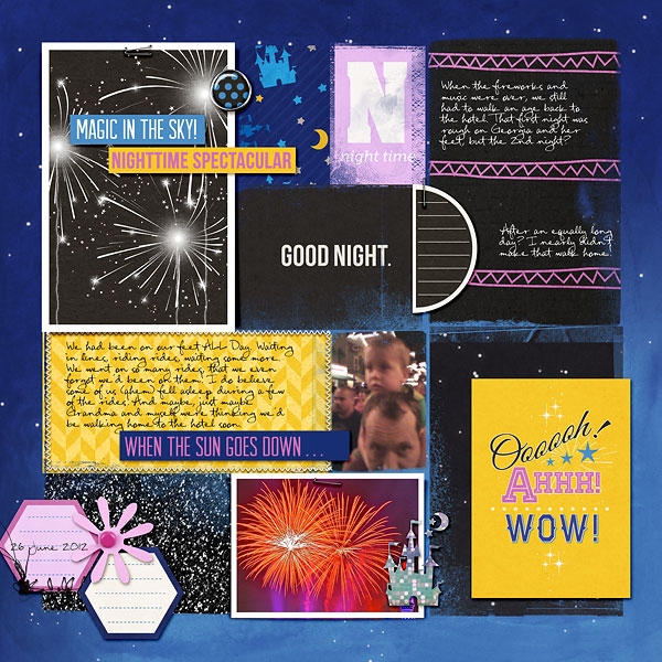 disney at night project life - left side - layout by amberr using Project Mouse: At Night by Sahlin Studio & Britt-ish Designs