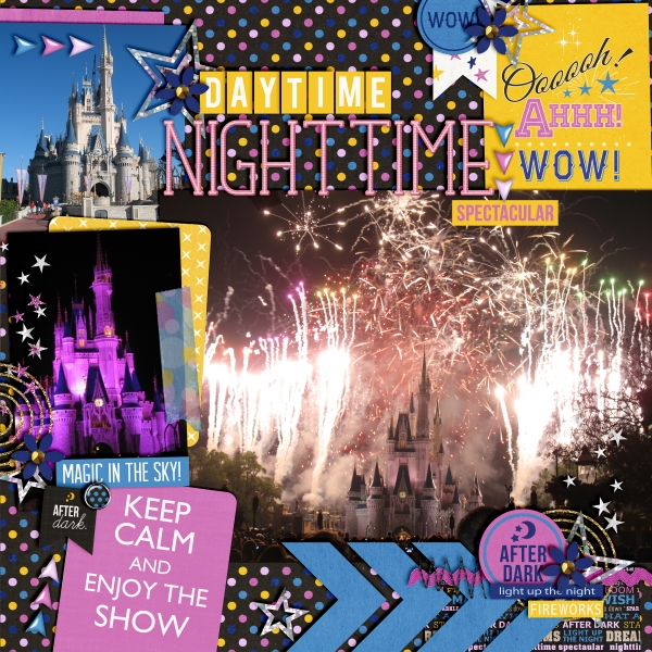 castle from daytime to nighttime layout by fonnetta using Project Mouse: At Night Kit by Sahlin Studio and Britt-ish Designs