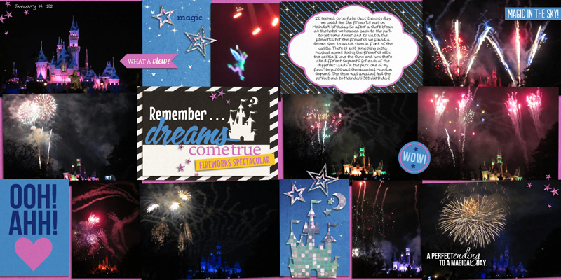 fireworks at disney project life double page layout by yzerbear19 using Project Mouse: At Night by Sahlin Studio & Britt-ish Designs