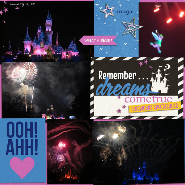 fireworks at disney project life - left side -layout by yzerbear19 using Project Mouse: At Night by Sahlin Studio & Britt-ish Designs