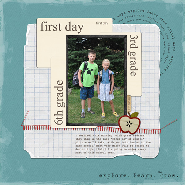First Day of 3rd and 6th grade layout by ctmm4 using Journal Cards: School by Sahlin Studio