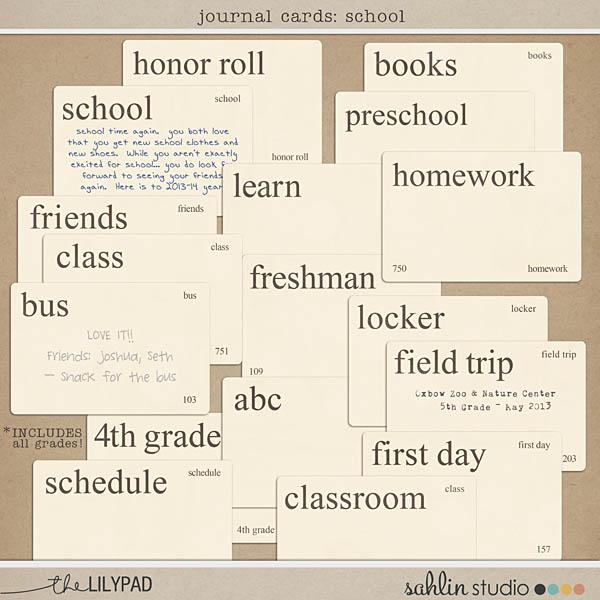 Journal Cards: School by Sahlin Studio