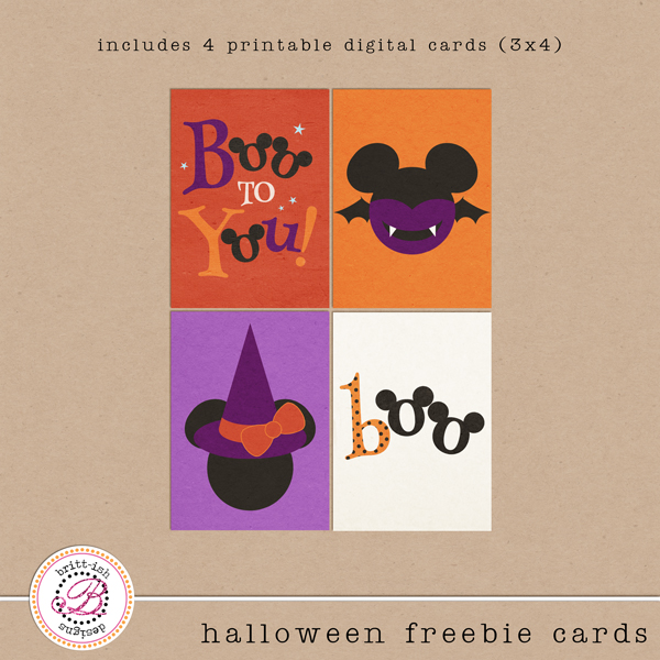 Boo To You - Halloween Freebie Cards by Britt-ish Designs
