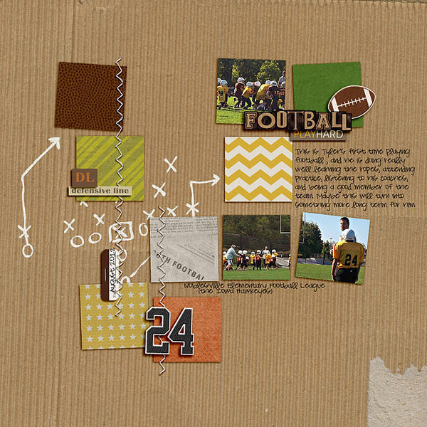 football digital scrapbook layout created by LeeAndra featuring Sports: Football by Sahlin Studio
