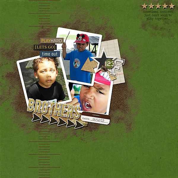 brothers digital scrapbook layout created by PuSticks featuring Sports: Football by Sahlin Studio