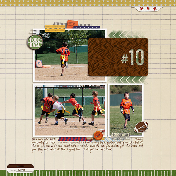 football digital scrapbook layout created by carolee featuring Sports: Football by Sahlin Studio