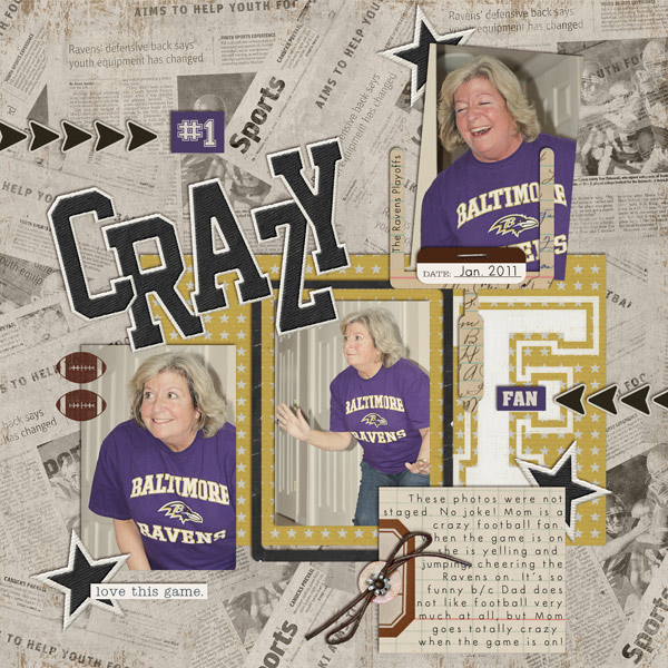 football digital scrapbook layout created by cnscrap featuring Sports: Football by Sahlin Studio