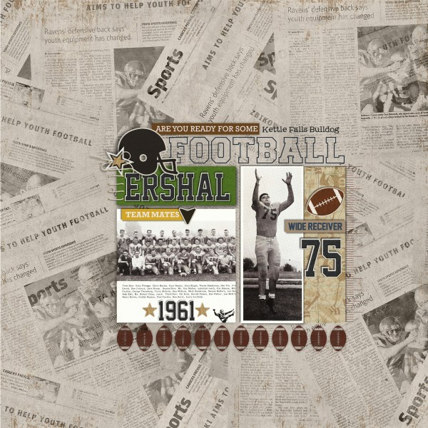 heritage / football digital scrapbook layout created by fonnetta featuring Sports: Football by Sahlin Studio
