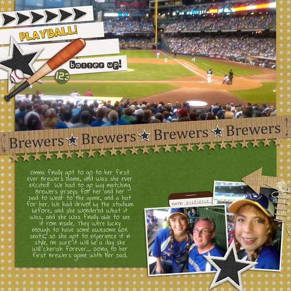 baseball digital scrapbook layout created by Lor featuring Sports: Football by Sahlin Studio
