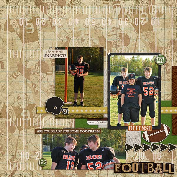 football digital scrapbook layout created by loralyn featuring Sports: Football by Sahlin Studio