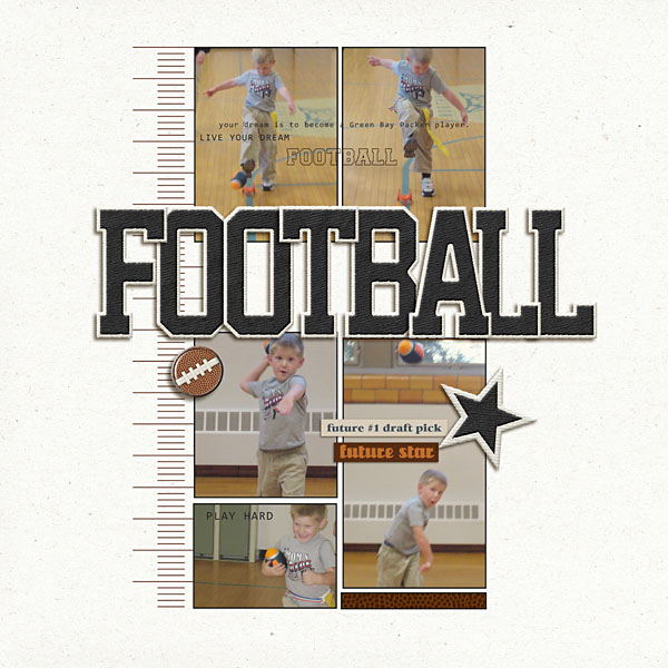 football digital scrapbook layout created by sahlink featuring Sports: Football by Sahlin Studio
