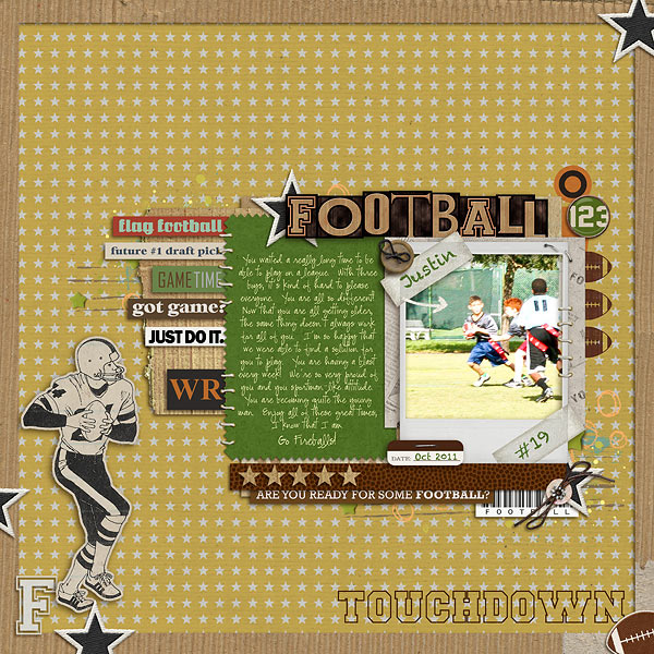 football digital scrapbook layout created by sportay24 featuring Sports: Football by Sahlin Studio