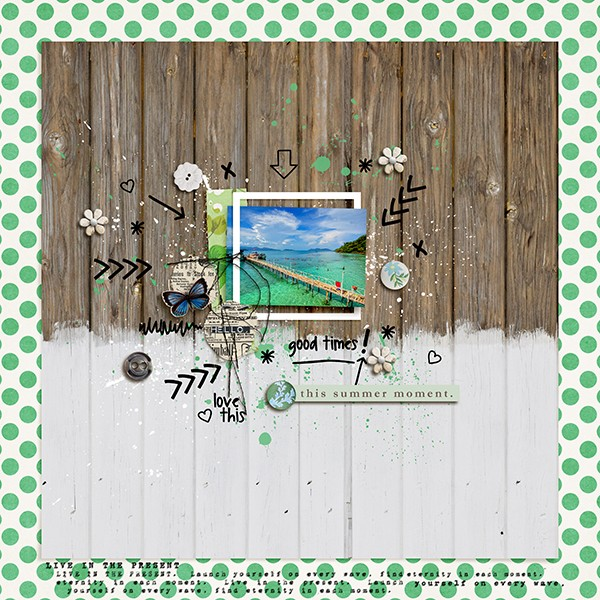 summer moment layout by margelz using magical photo overlays by sahlin studio