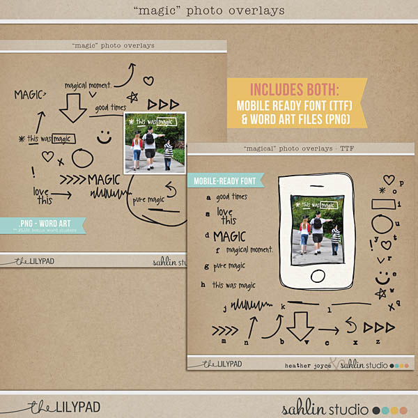 Magical Photo Overlays by Sahlin Studio - Mobile Ready TTF Font & PNG BUNDLE