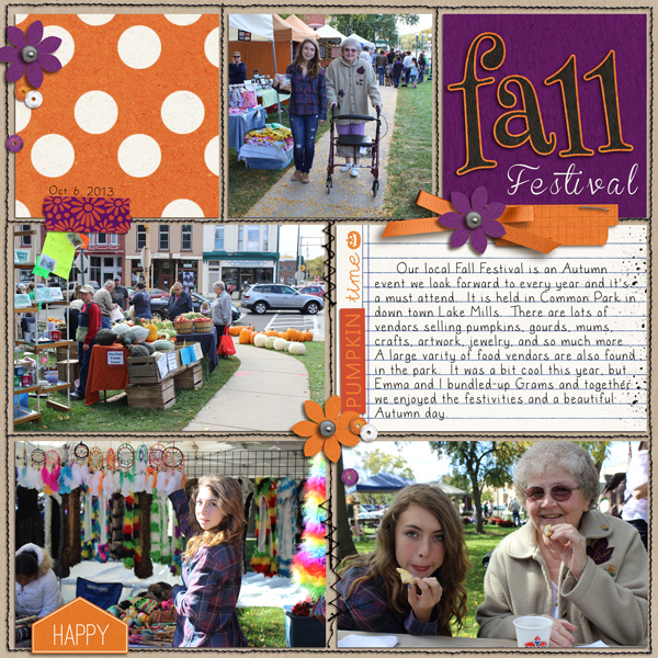 Fall Festival Project Life page by Lor using halloween time page by ajjones using Project Mouse: Halloween Edition by Sahlin Studio & Britt-ish Designs