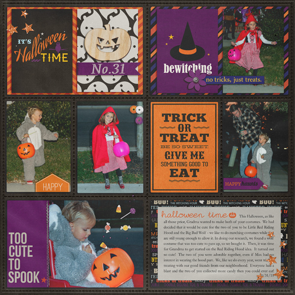 halloween trick or treat pocket scrapbooking / project life page by rlma using Project Mouse: Halloween Edition by Sahlin Studio & Britt-ish Designs